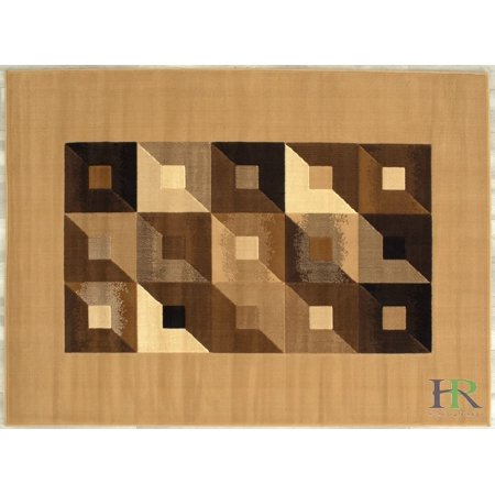 Brown Geometric Pattern - Handcraft Rugs - Beige, Chocolate, Brown, Modern Rectangular Geometric Pattern Area Rug (Approximately 2 by 3 Doormat)