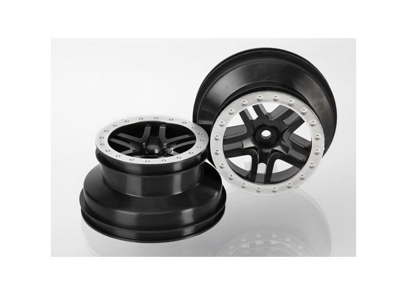 Traxxas 5886 Wheels SCT Black Split-Spoke Satin Chrome TRA5886 by