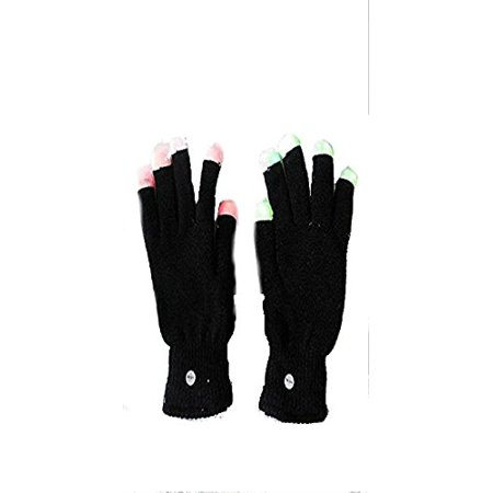 Halloween Wholesalers Light Up Gloves With changing LED fingers tops (Black) - Gloves With Led Lights
