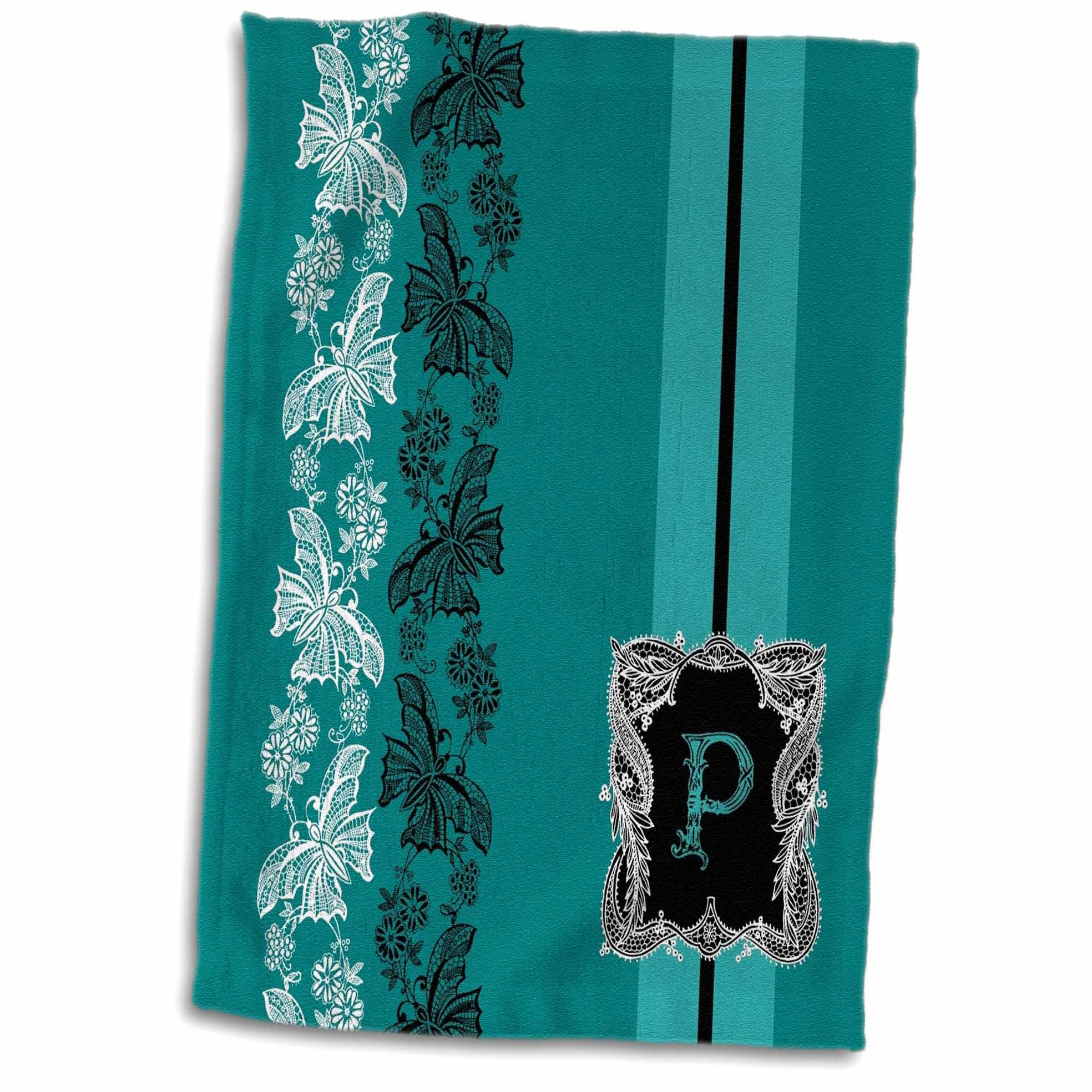 3dRose Monogram Initial P in Teal White and Black Lace - Towel, 15 by 22-inch
