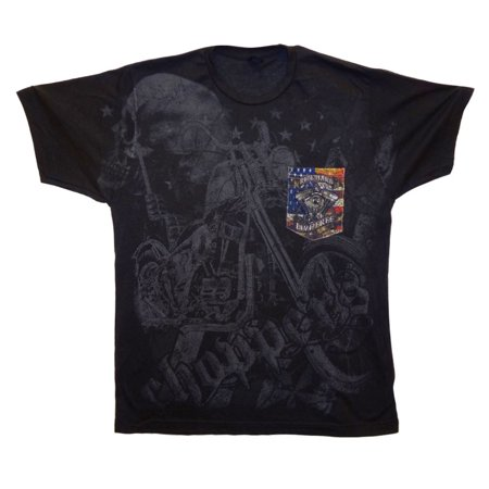 Biker Ride Hard Live Free Choppers Motorcycle Skull USA Flag Soft T-Shirt Tee Printed Pocket Unsex Mens - Black