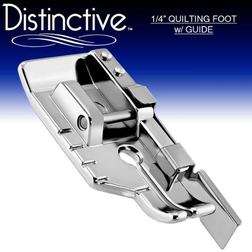 Distinctive 1-4 (Quarter Inch) Quilting Sewing Machine Presser Foot with Edge Guide - Fits All Low Shank Snap-On Machine