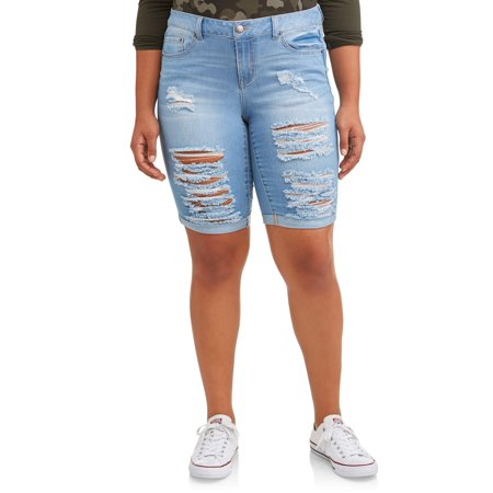 7e1693f821 Wax Jean - Juniors' Plus Size Distressed Roll Cuff Bermuda Shorts -  Walmart.com