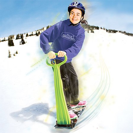 Original Geospace Ski Skooter: Fold-up Snowboard Kick-Scooter for Use on Snow and Grass; Assorted Colors