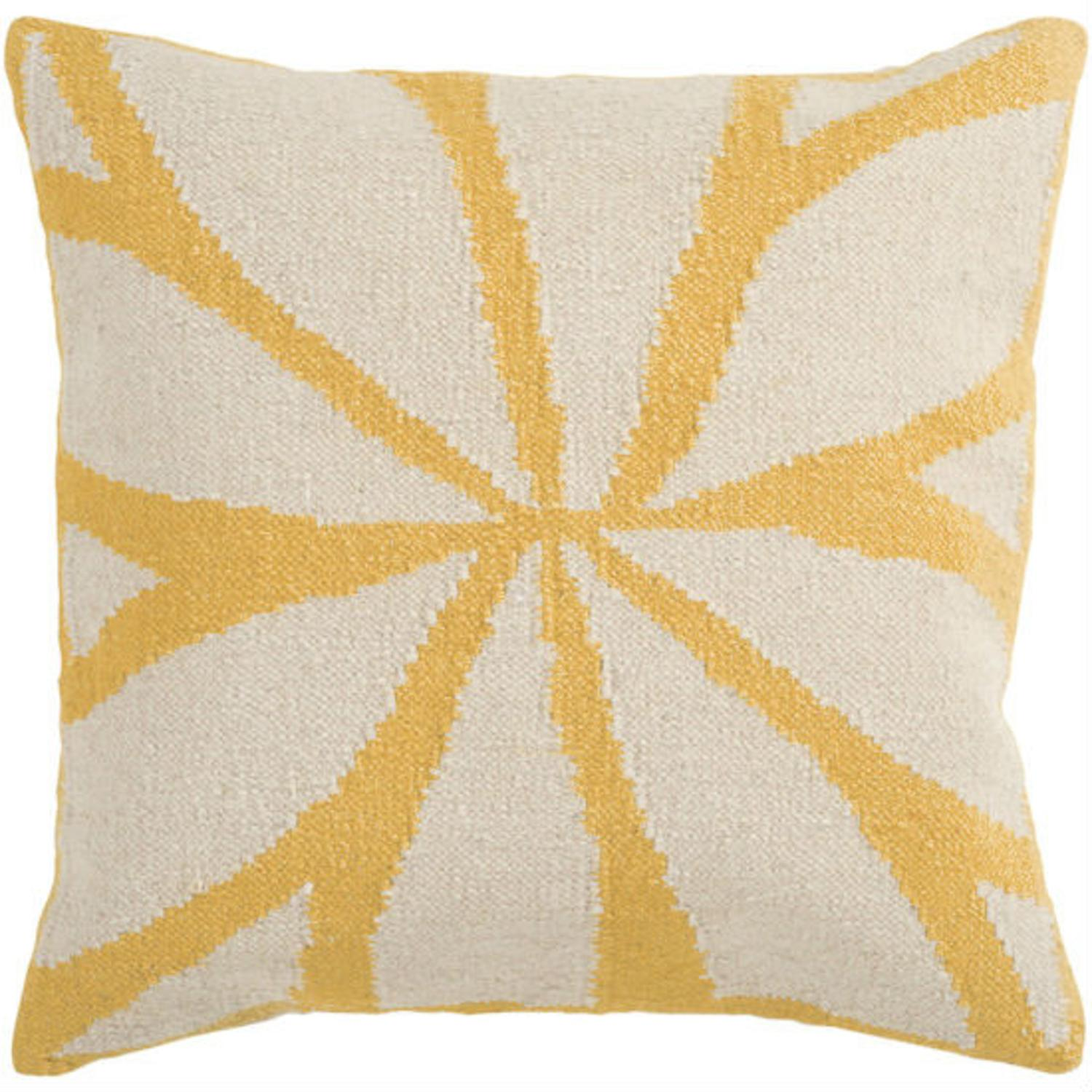 """18"""" Golden Yellow and Ivory Asterid Decorative Throw Pillow"""