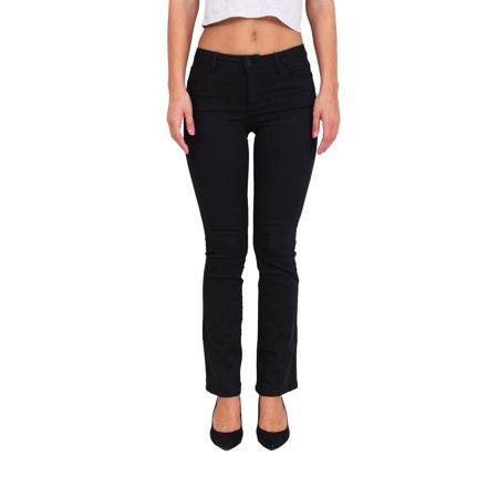 Cello Jeans Women Middle Rise Black Denim Boot Cut Jeans 1 Black