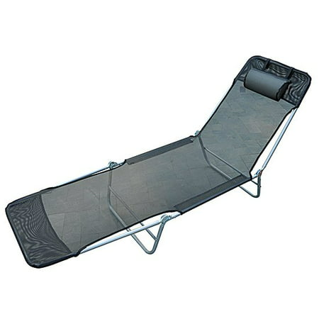 Aluminum Lightweight Outdoor Patio Folding Chaise Lounge Chair - Charcoal Grey (Light Lounge)