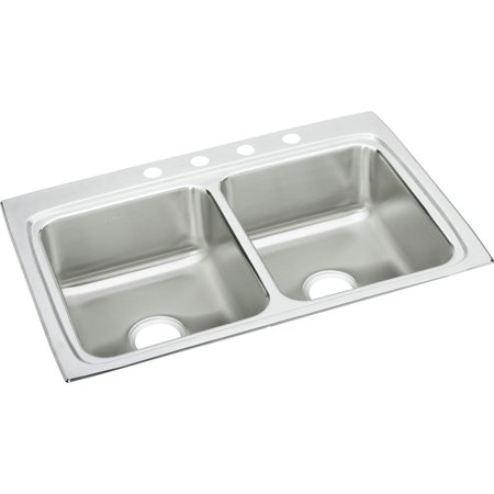Elkay LR33221 Gourmet Lustertone Stainless Steel Double Bowl Top Mount Sink with Single Faucet Hole ()