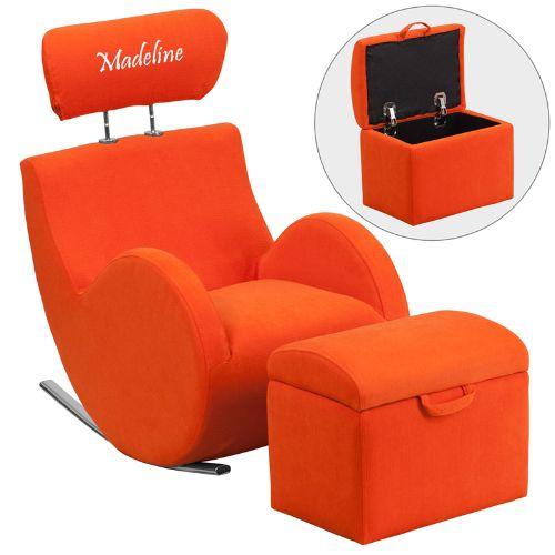 FLASH Personalized HERCULES Series Orange Fabric Rocking ...