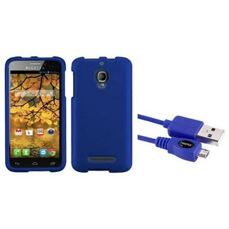 Insten Titanium Solid Dark Blue Case For Alcatel One Touch