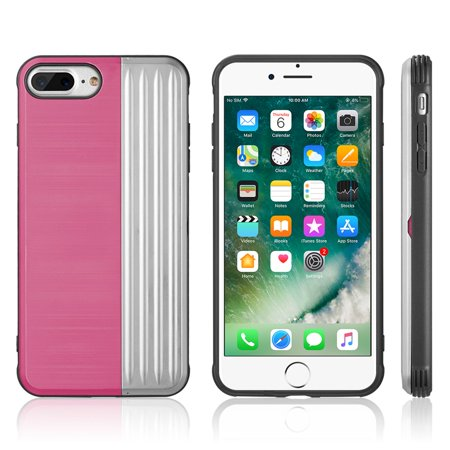 Apple iPhone 7 Plus/8 Plus Case, by Insten The Kard Dual Layer [Shock Absorbing] Hybrid Hard Plastic/Soft TPU Rubber Case Cover For Apple iPhone 7 Plus/8 Plus, Pink/Silver - image 2 de 4