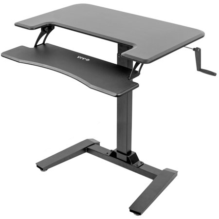 VIVO Black Manual Crank Height Adjustable Standing Desk with Base | Dual Tiered Small Space Workstation