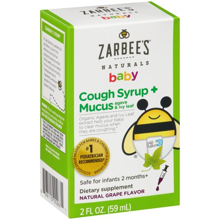 Zarbees Naturals Baby Cough Syrup   Mucus Dietary Supplement Natural Grape Flavor  2 0 Fl Oz