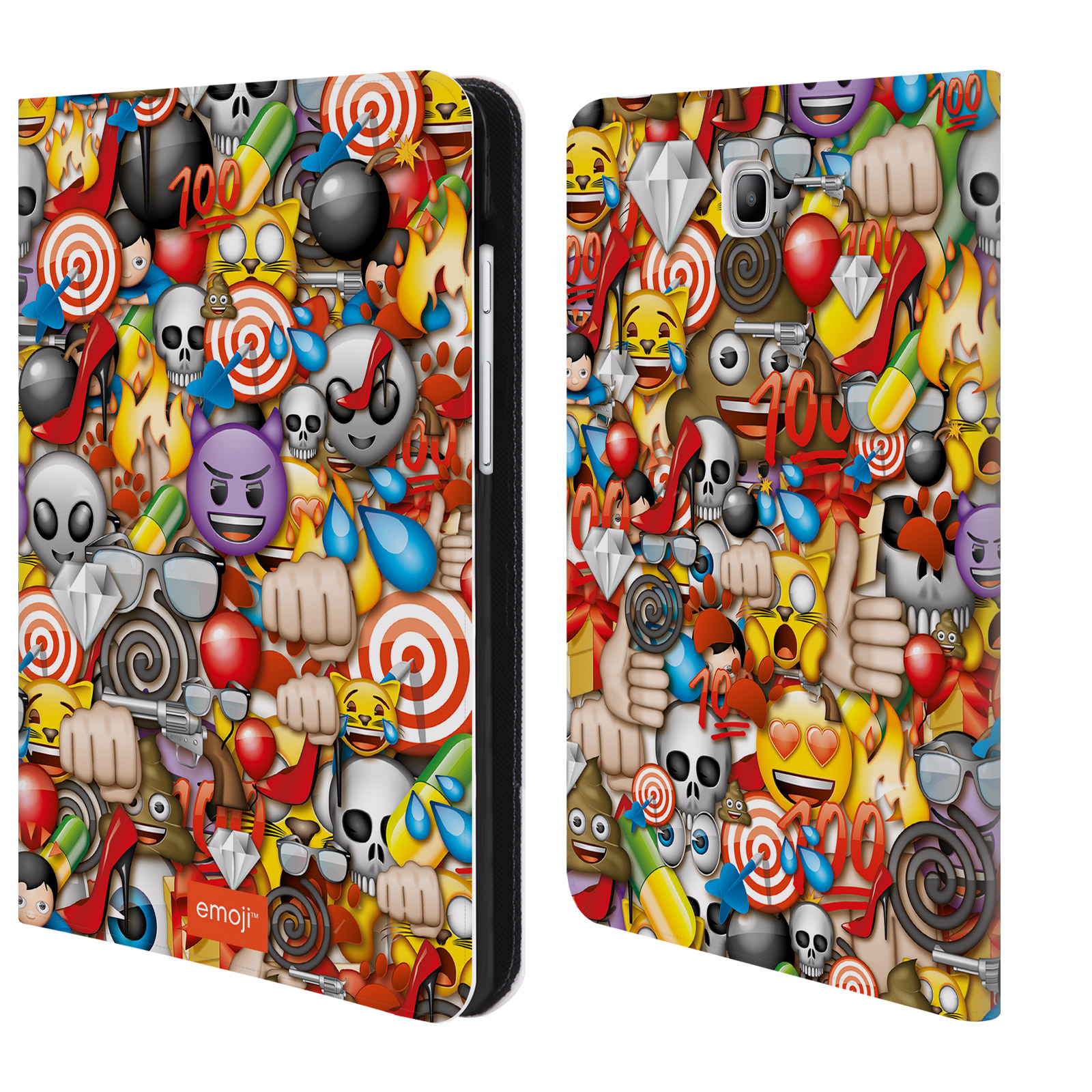 OFFICIAL EMOJI FULL PATTERNS LEATHER BOOK WALLET CASE COVER FOR SAMSUNG GALAXY TABLETS