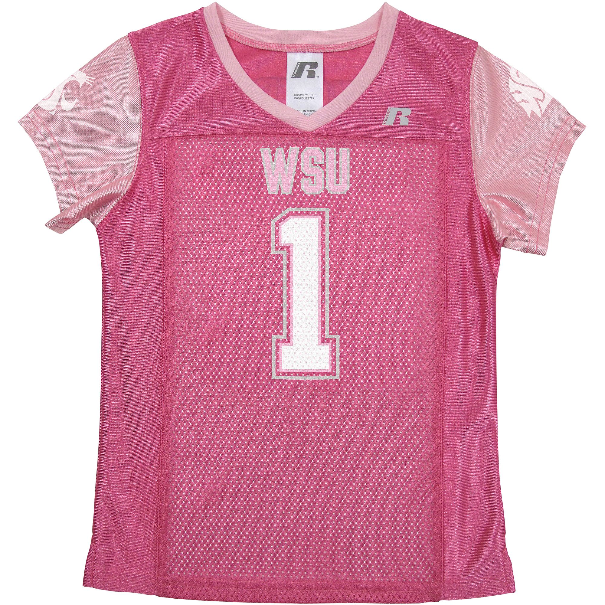 Russell NCAA Washington State Cougars, Girls Short Sleeve V-Neck Replica Jersey