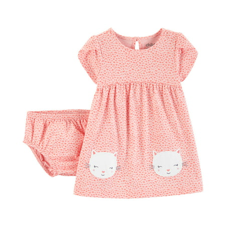 Short Sleeve Dress and Diaper Cover (Baby Girls) - Short Puffy Dresses For Kids