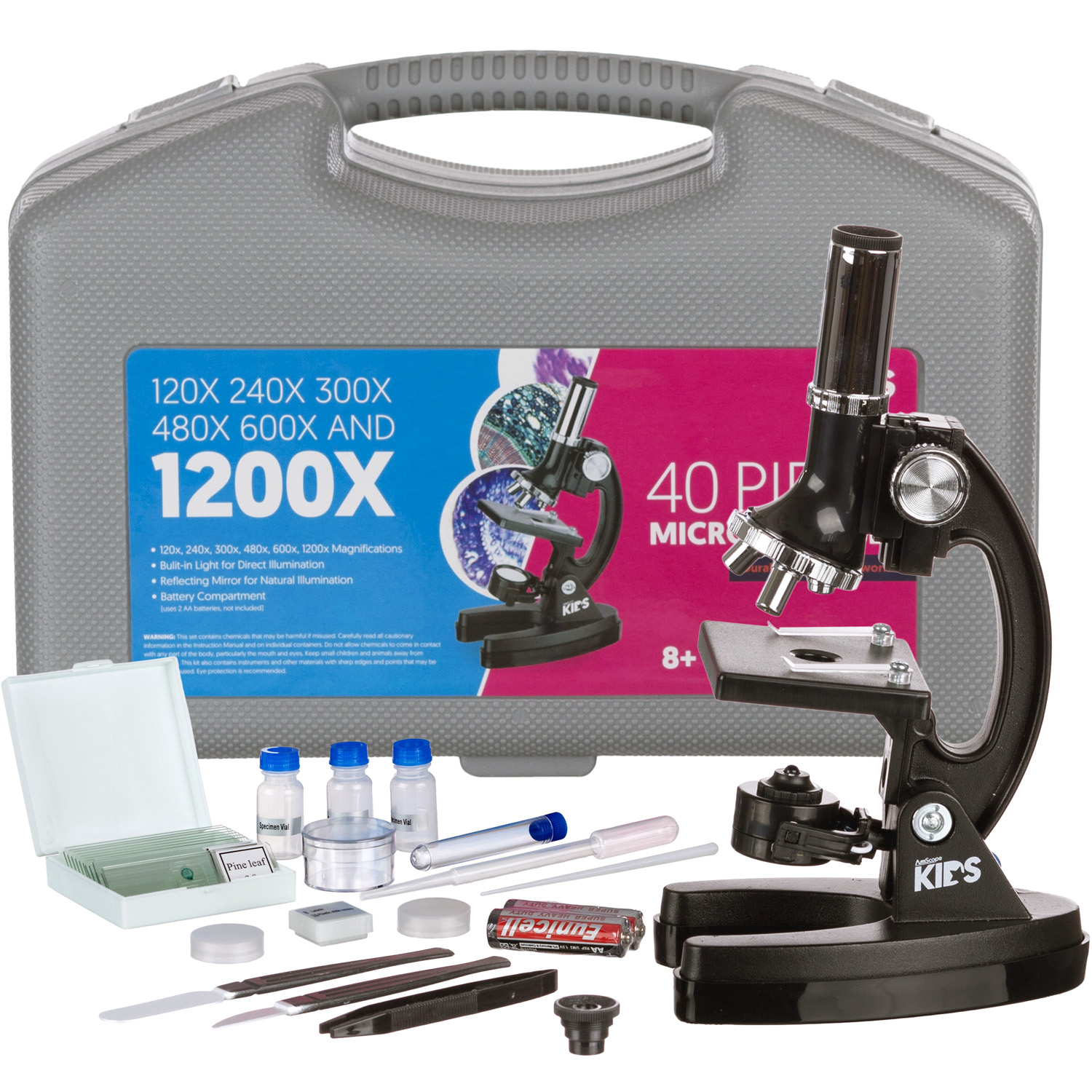 AMSCOPE-KIDS 120X-240X-300X-480X-600X-1200X Metal Arm Educational Biological Kids Microscope Kit