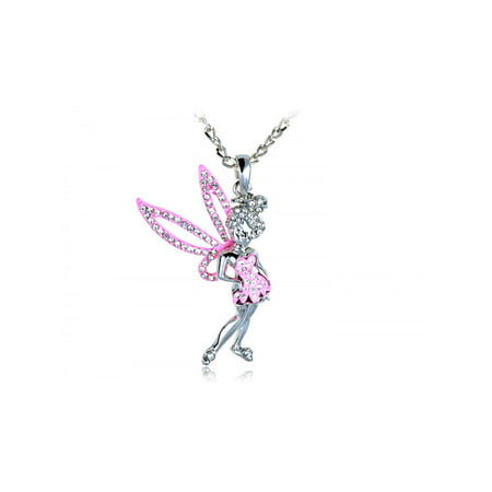 Fun Flirty Pink Tinkerbell Sparkle Wings Crystal Rhinestone Fashion Necklace