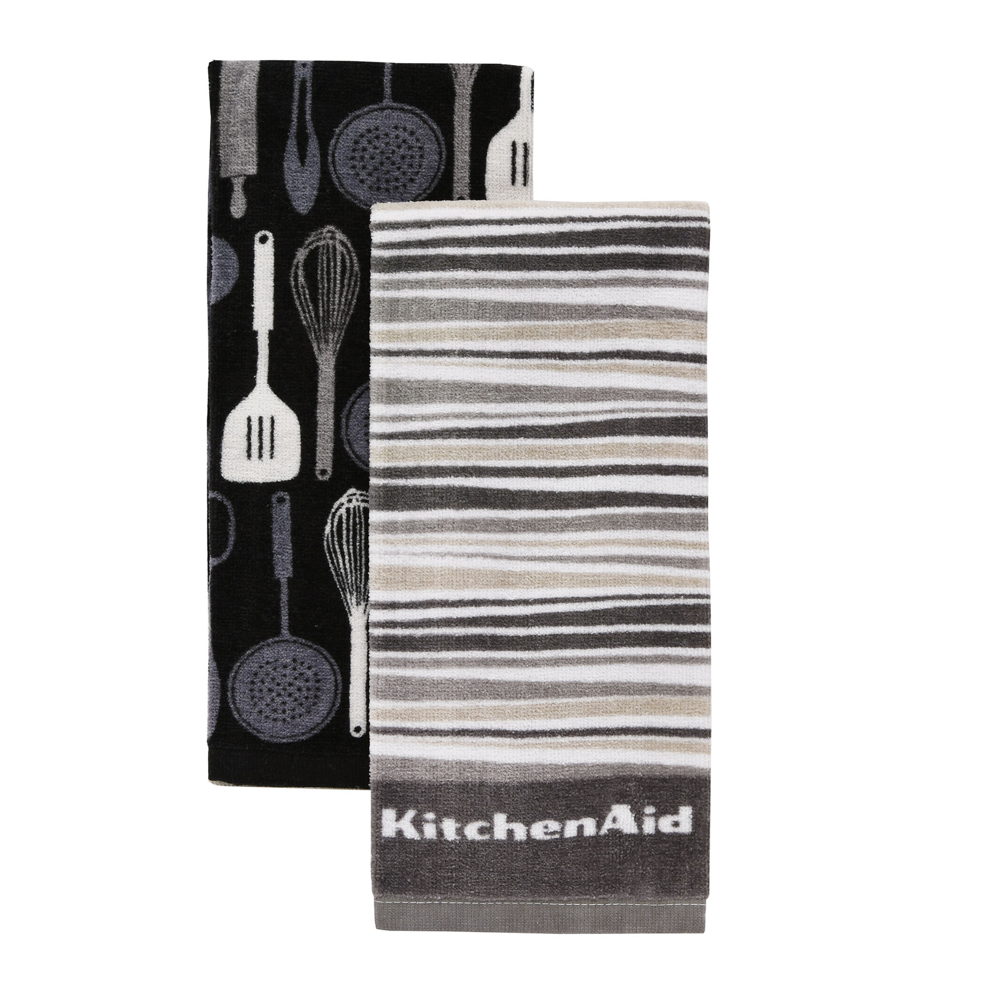 KitchenAid Utensils & Stripe Kitchen Towels, Set of 2, Grey by TOWN & COUNTRY