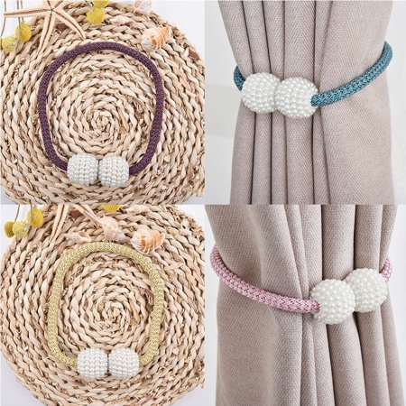 1 Pair Pearl Beads Round Curtains Tieback Magnet Buckle Strap Magnetic Curtain - Bead Holder