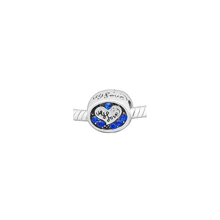 Buckets of Beads I Love You Rhinestone Charm Bead, Blue