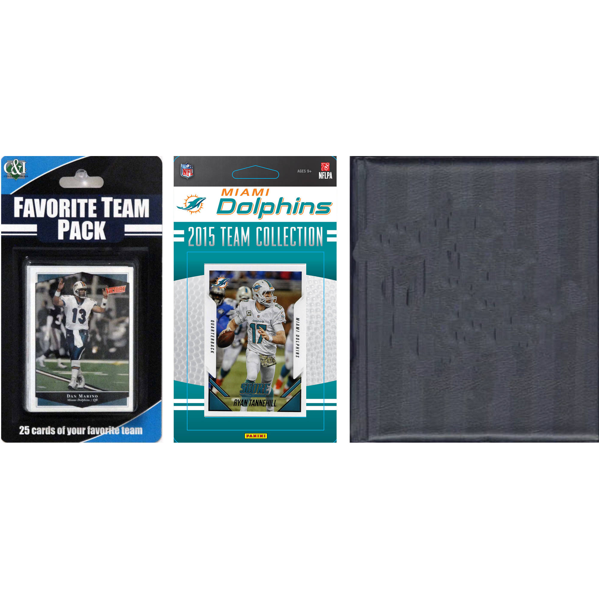 C&I Collectables NFL Miami Dolphins Licensed 2015 Score Team Set and Favorite Player Trading Card Pack Plus Storage Album
