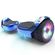 Hoverboard All-Terrain LED Flash Wide All Terrian Wheel with Bluetooth Speaker Dual LED Light Self Balancing Wheel Electric Scooter Chrome Blue