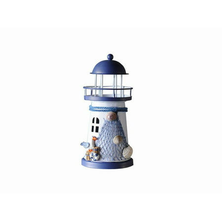"""LED Lighted Decorative Metal Lighthouse with Seagull Christmas Ornament 6"""""""