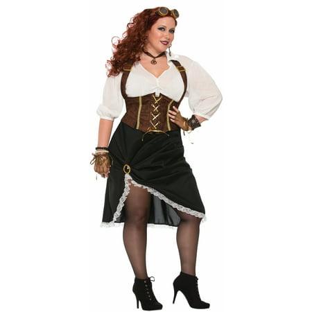 cbba3d2172627 Women s Steampunk Lady Costume Fancy Dress Victorian Corset Plus Size 18 22  - image 1 ...
