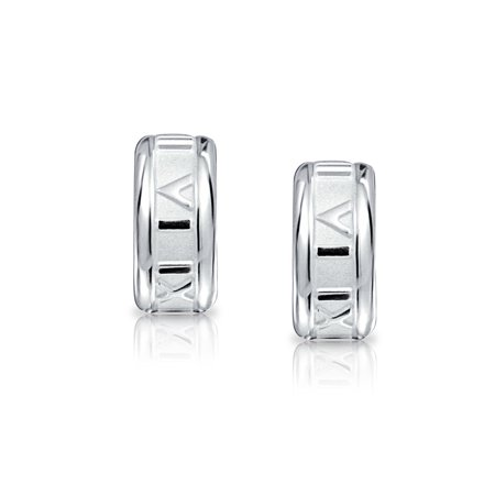 dc4e80099 Tiny Carved Roman Numeral Sleek Huggie Hoop Earrings For Women 925 Sterling  Silver Polished Finish ...