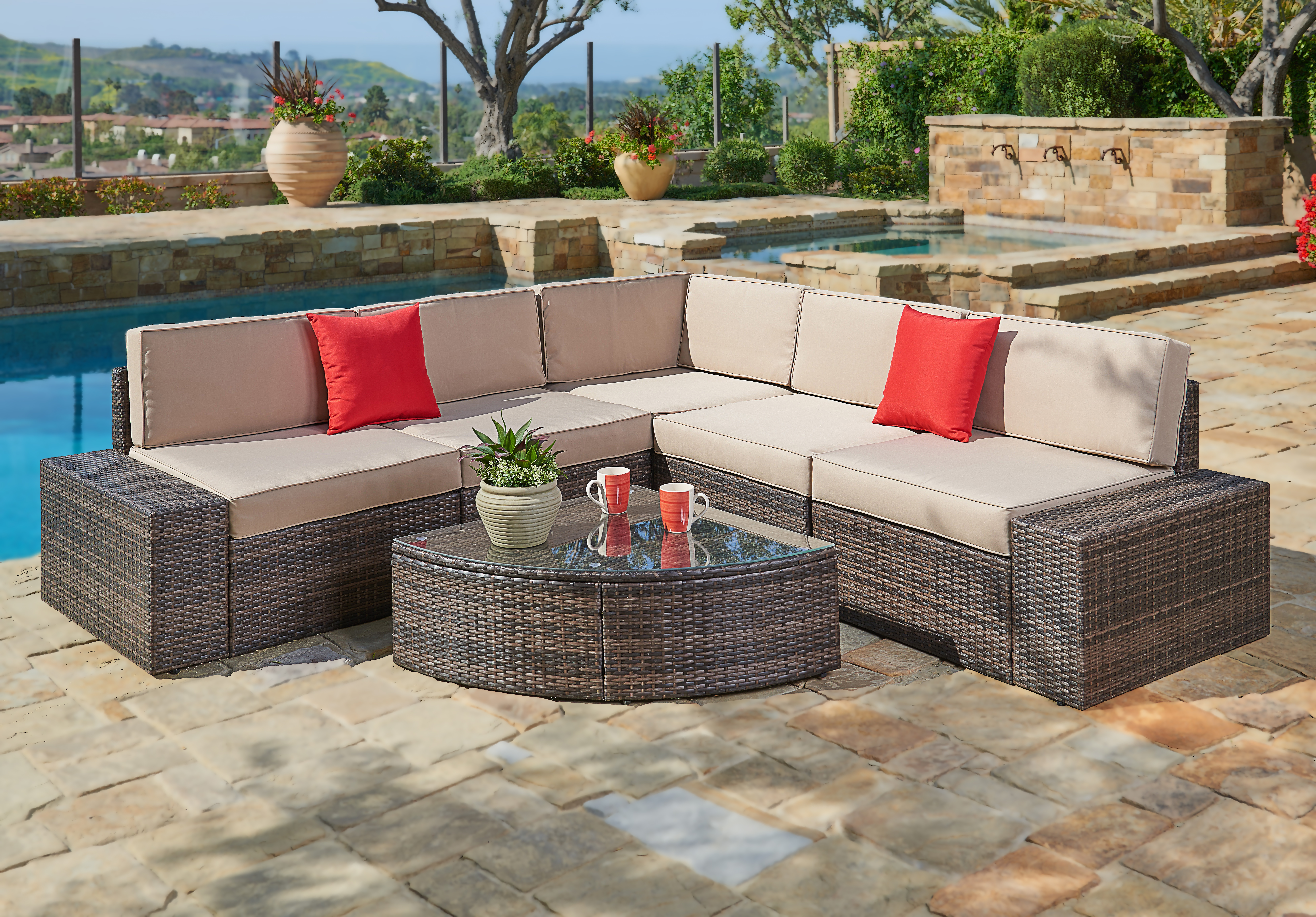 Suncrown Outdoor Furniture Sectional Sofa & Wedge Table (6-Piece Set) All-Weather Brown... by Suncrown