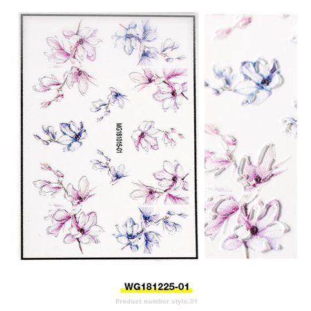 3D Acrylic Engraved Flower Nail Sticker Embossed Flower Nail Decals Empaistic Nail Slide -