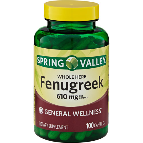 Spring Valley Whole Herb Fenugreek Herbal Supplement Capsules, 610mg, 100 count