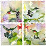 Nature's Gift of Feathers - Hummingbird Square Coaster assorted Set of 4 -code 727