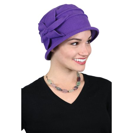 51b102996dff8 Fleece Flower Cloche Hat for Women Cancer Headwear Chemo Ladies Head  Coverings (Purple) - Walmart.com