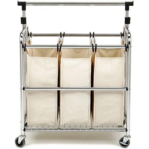 Seville Classics 3-Bag Laundry Hamper Sorter Cart with Clothes Rack by Seville Classics