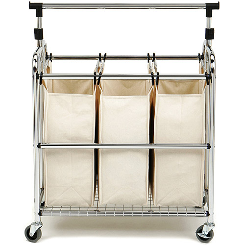 Seville Classics 3-Bag Laundry Sorter w/ Hang Bar, SHE16165B