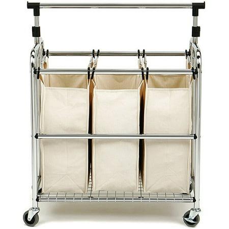 Seville Classics 3-Bag Laundry Hamper Sorter Cart with Clothes Rack