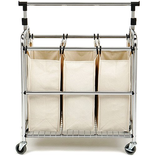 Seville Classics 3 Bag Laundry Hamper Sorter Cart With