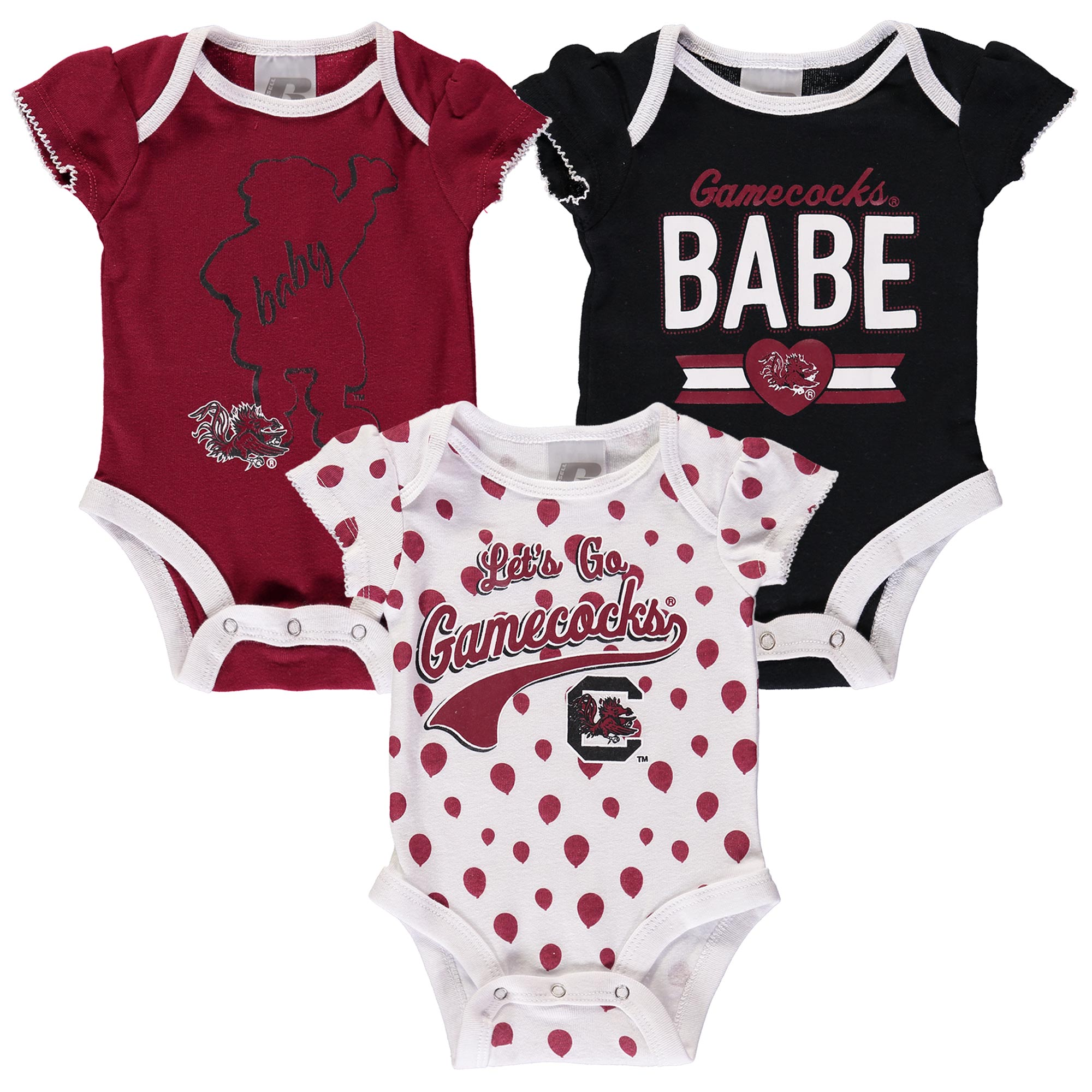 Girls Newborn & Infant Russell Garnet South Carolina Gamecocks Three-Pack Bodysuit Set