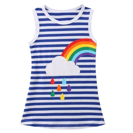 Sister Matched Summer Outfits Toddler Baby Girls Sleeveless Stripes Rainbow Dress](Rainbow Dress For Girl)