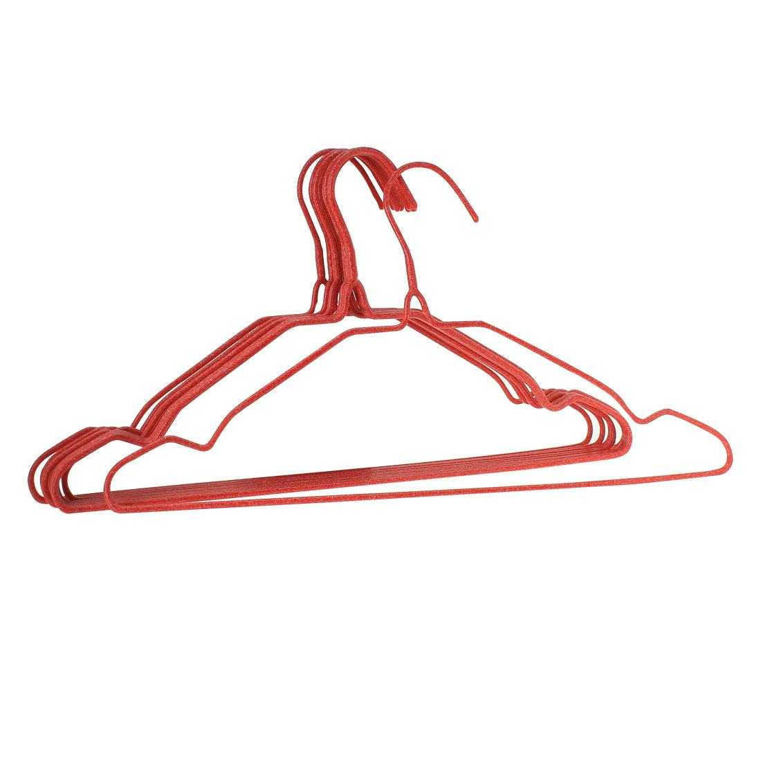 Home Wardrobe Cloths Pant Hook Nonslip Red Plastic Hanger 10 Pcs