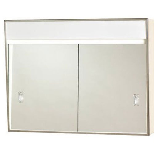 "Click here to buy 24"" X 7-3 4"" X 20"" Medicine Cabinet With Sliding Doors and 2 Lights by JENSEN INDUSTRIES."