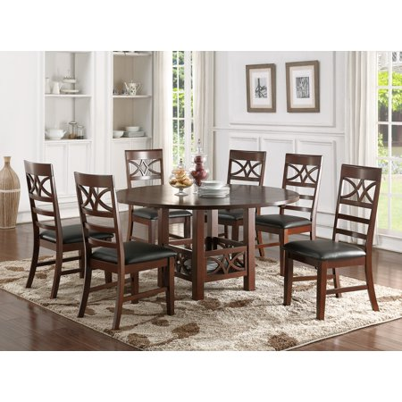 Astonishing New Unique 7 Pc Set Dining Table W 4 X 9 Leaf Round Or Square Folding Table Set Modern Faux Leather Cushion Chairs Dark Brown Andrewgaddart Wooden Chair Designs For Living Room Andrewgaddartcom