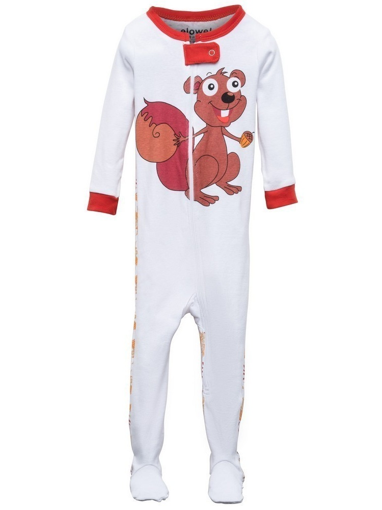 Elowel Baby Girls Brown Chipmunk Print Zipper Footed Pajama Sleeper