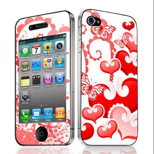 Bundle Monster Iphone 4 4G Vinyl Skin Decal Sticker Butterflies & Hearts