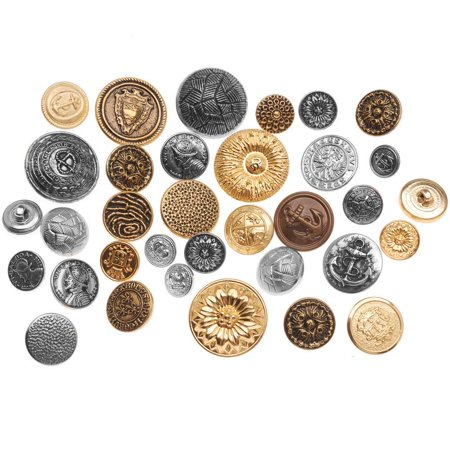 Assorted Vintage Metal Buttons Gold And Silver Tone 12-28mm Diameter - 1 Pound Variety Pack