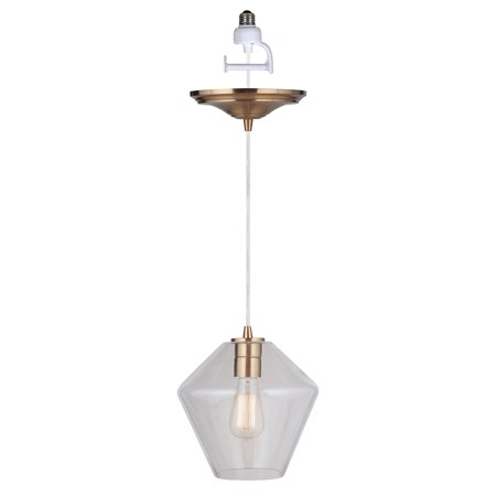 Instant Pendant Recessed Light Conversion Kit Brushed Brass Geometric Clear Glass Shade