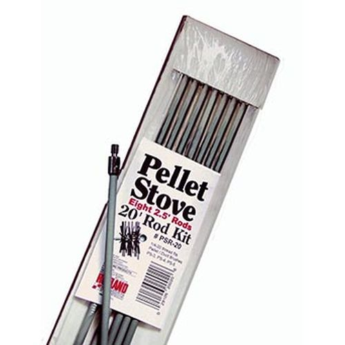 "20' Kit W/8, 2.5' Poly Extention Rods 1/4""-20 Thread For Pellet Stove Brush"