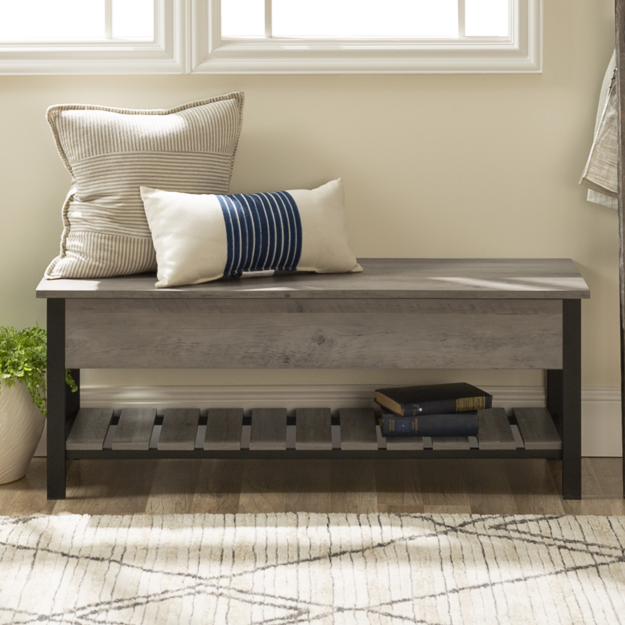 "48"" Rustic Modern Farmhouse Storage Bench with Shoe Shelf - Gray Wash"